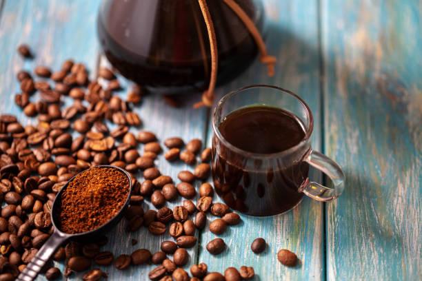 hand brewing coffee stock photo