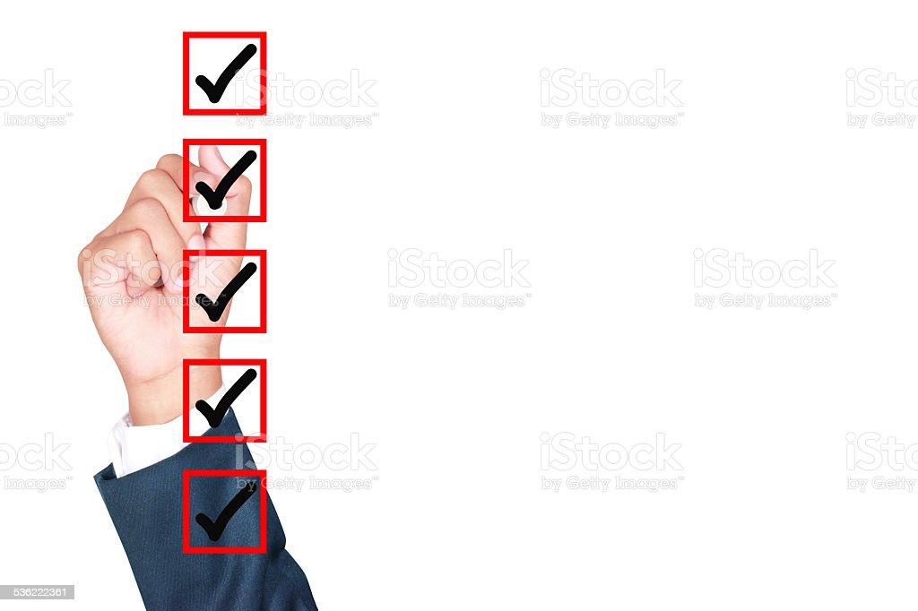 Hand Business man tick check box stock photo