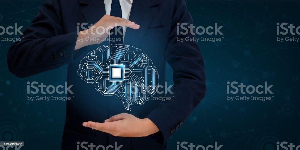 AI Hand Business people press the phone. Brain Graphic Binary Blue Technology stock photo