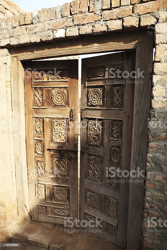 Hand Carved Wood panel Door royalty-free stock photo