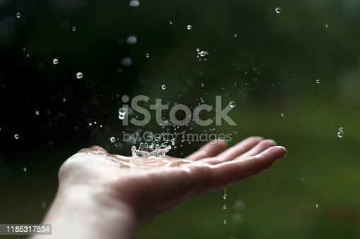 Hand of woman catching raindrops.