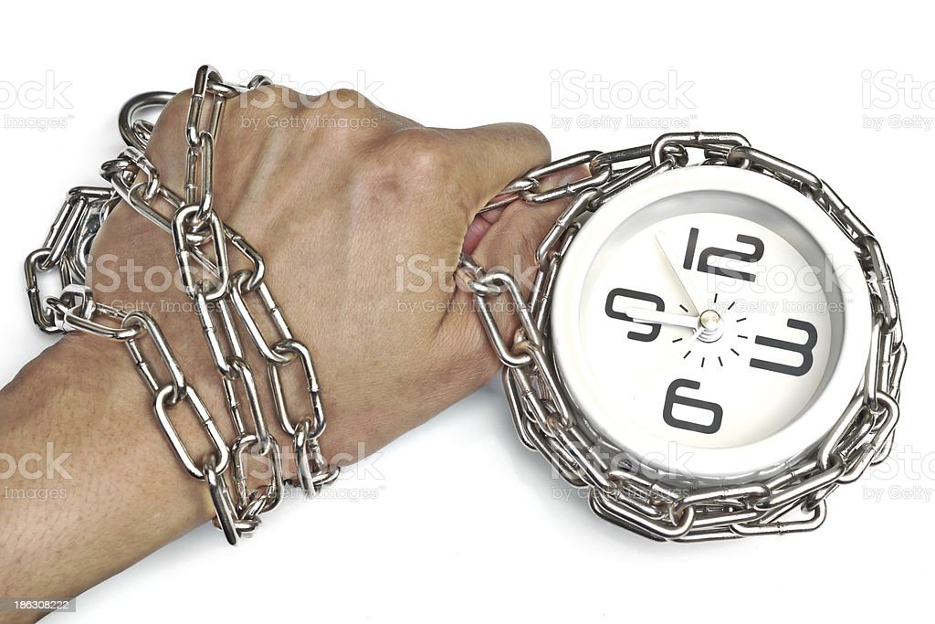hand chained with a clock royalty-free stock photo