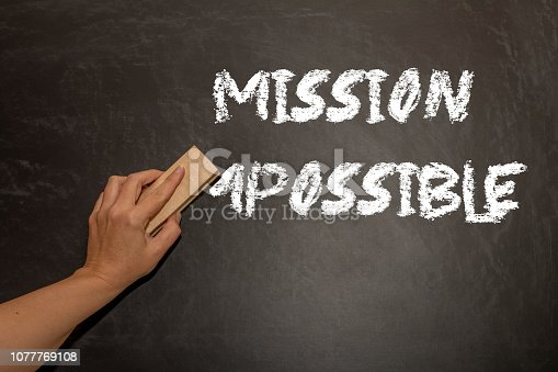 hand changing the word impossible to possible. Alphabet I, M being erased from a chalkboard. Change concept.