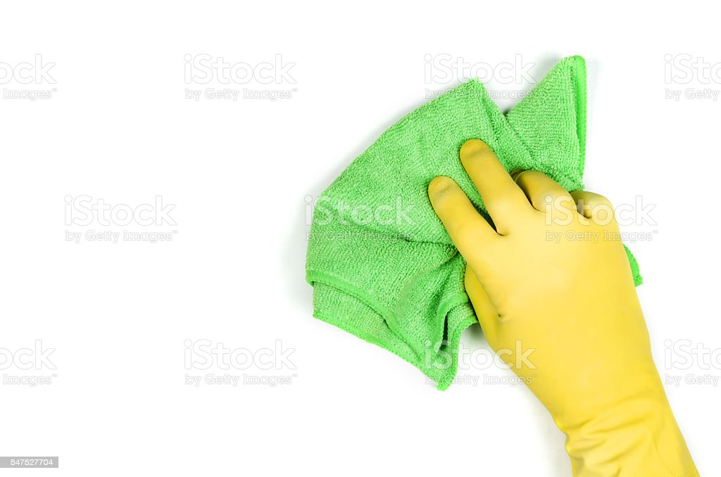 Hand cleaning against a white background stock photo