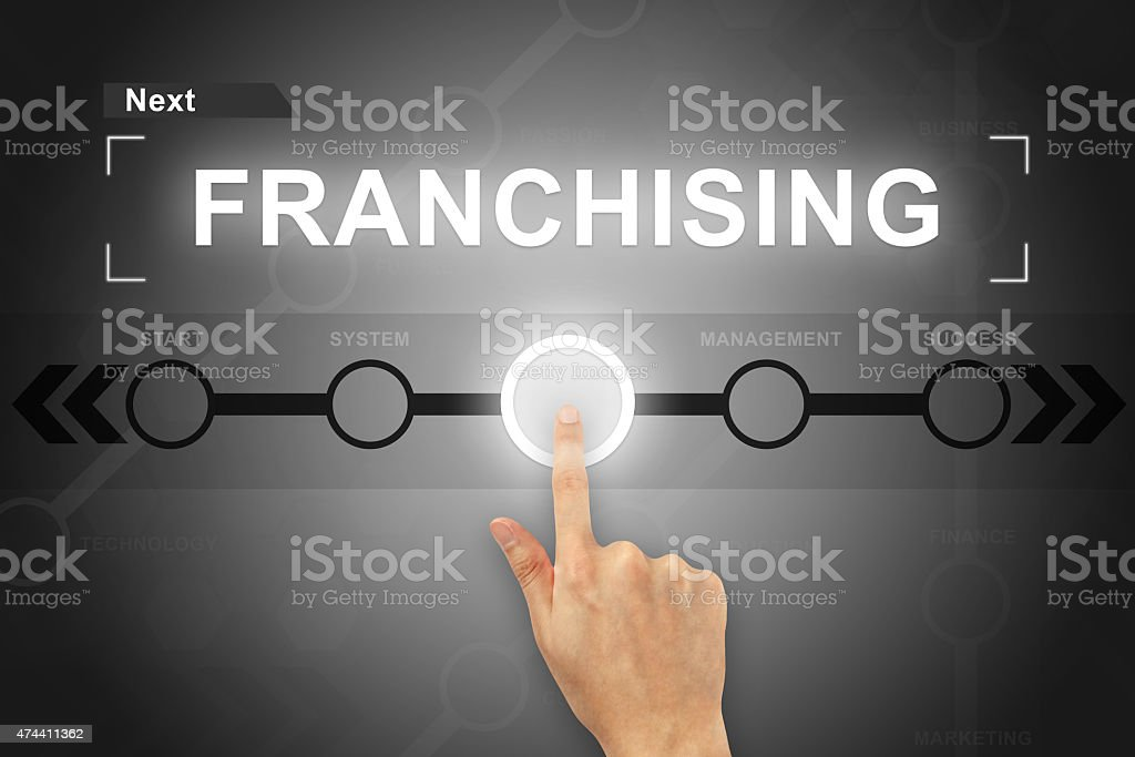 hand clicking franchising button on a screen interface stock photo