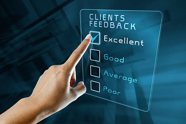 hand clicking online survey on virtual screen interface - Photo
