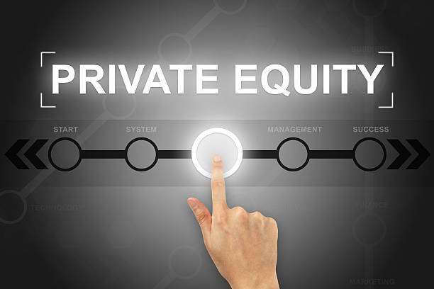 hand clicking private equity button on a screen interface stock photo
