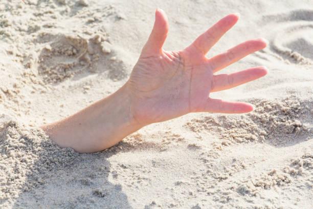 el portre. eller bir plajda kuma gömülü. - gömülü stok fotoğraflar ve resimler
