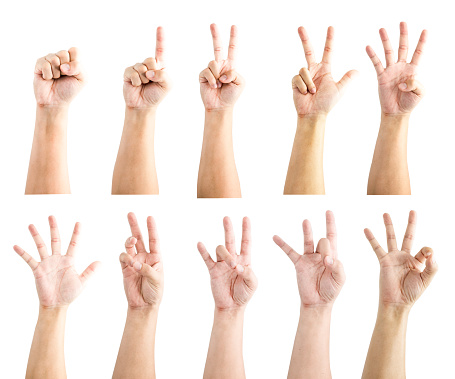 istock Hand collection of count numeric sign language since zero one two three four five six seven eight and nine . Isolated on white background with clipping path .-Image. 1135330148