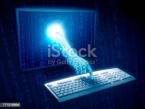 533557042 istock photo Hand coming through monitor typing on keyboard 171316994