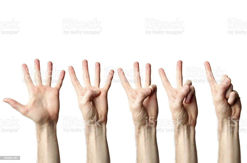 Hand countdown royalty-free stock photo