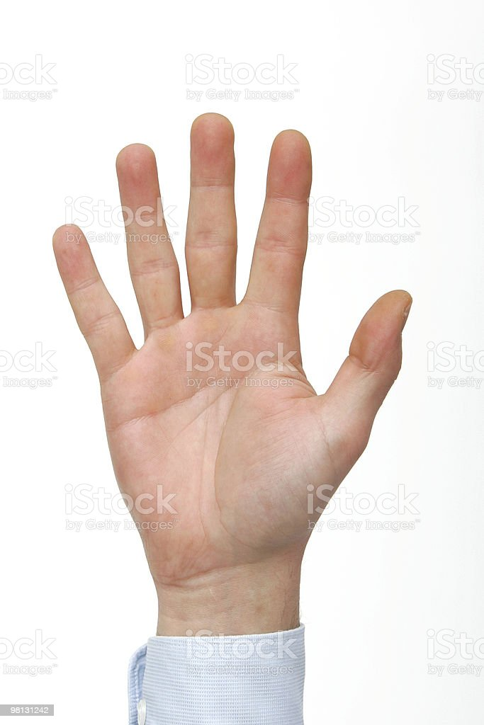 Hand counting five royalty-free stock photo