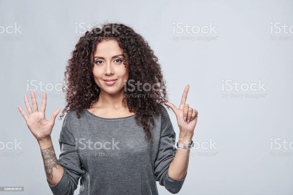 Hand zählen-sieben Finger. – Foto