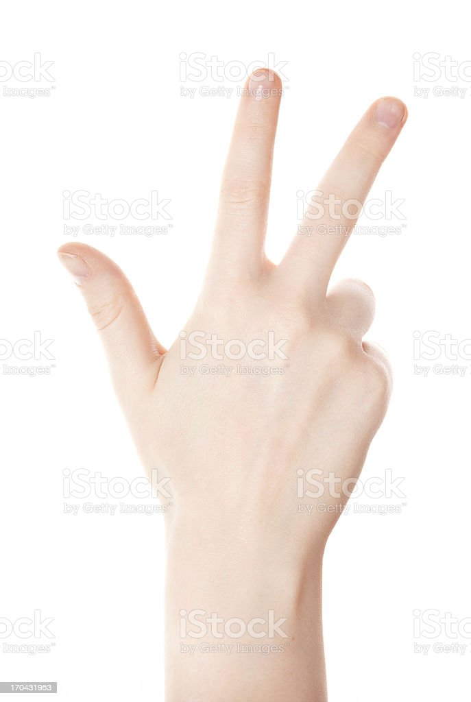Hand counting - three fingers on white background stock photo