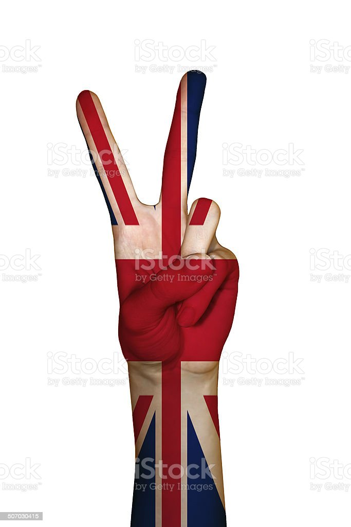 Hand covered in flag of UK royalty-free stock photo