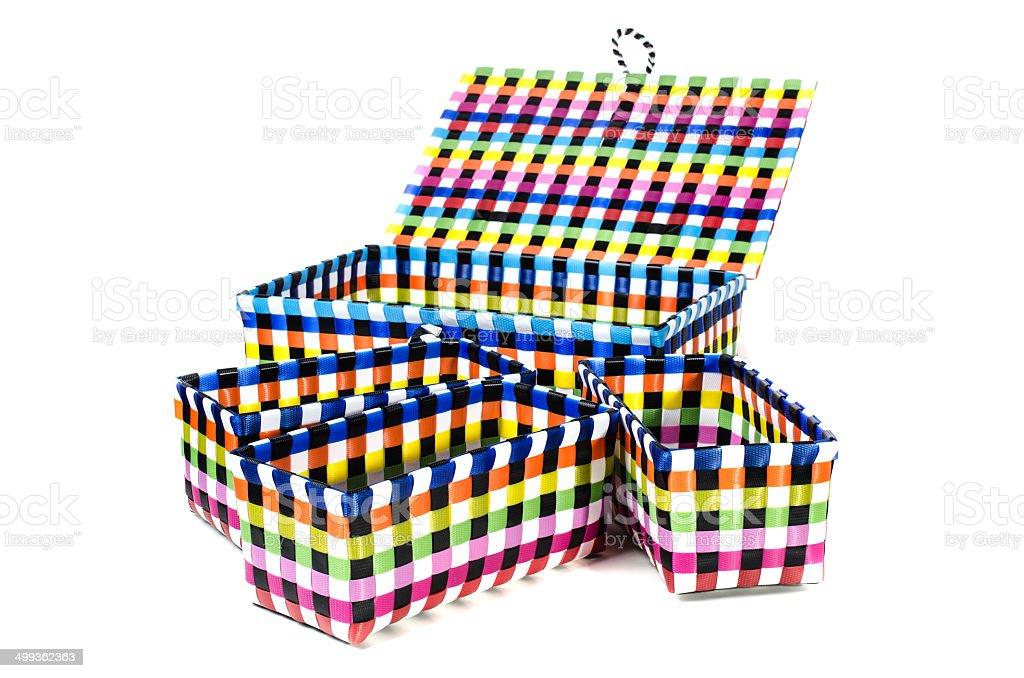 Hand craft plastic basket set stock photo