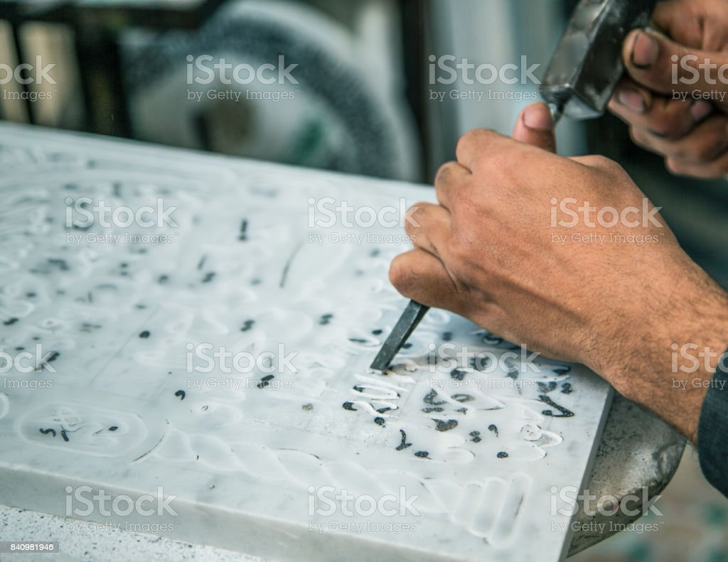 Hand crafted headstone being prepared stock photo