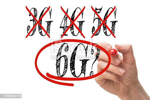 1137367258 istock photo Hand crossing out 3G and 4G and 5G replacing it with 6G 1199043215