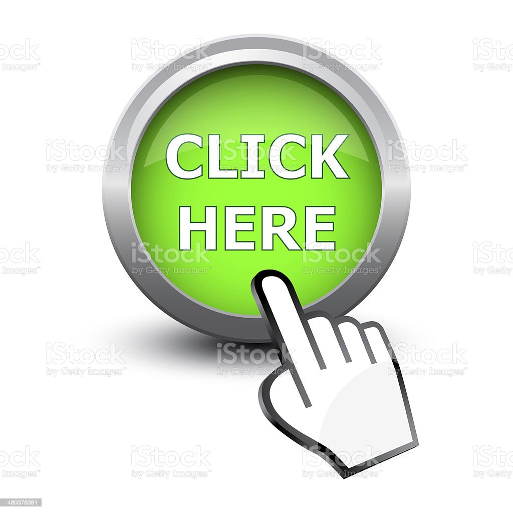 Hand cursor and button click here stock photo