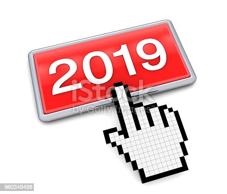 1063751940 istock photo Hand Cursor on 2019 Button 960349498