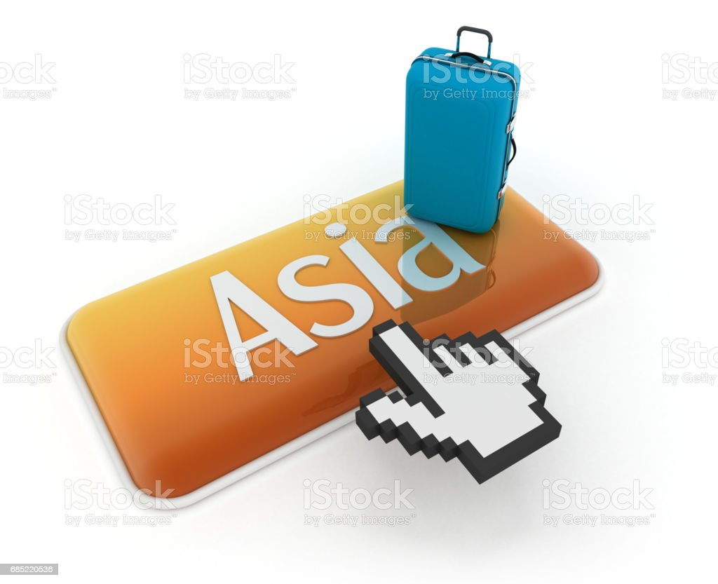 Hand cursor on Asia button with travel bag foto de stock royalty-free