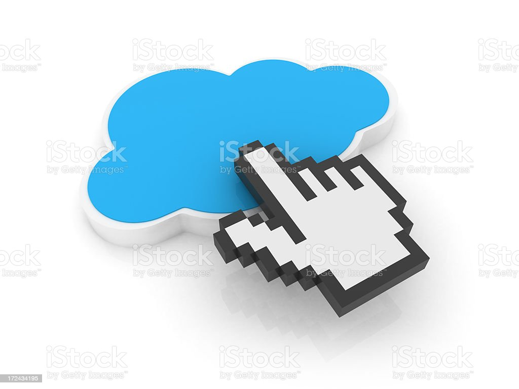 Hand cursor on cloud royalty-free stock photo