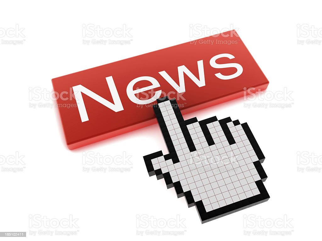 Hand Cursor on News Button royalty-free stock photo