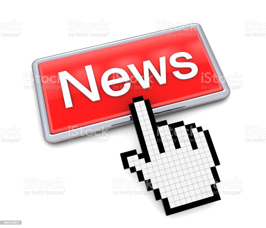 Hand Cursor on News Button stock photo