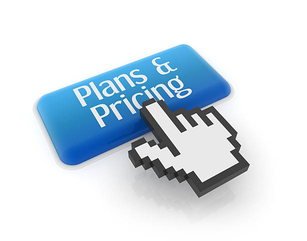 Hand cursor on plans & pricing button stock photo