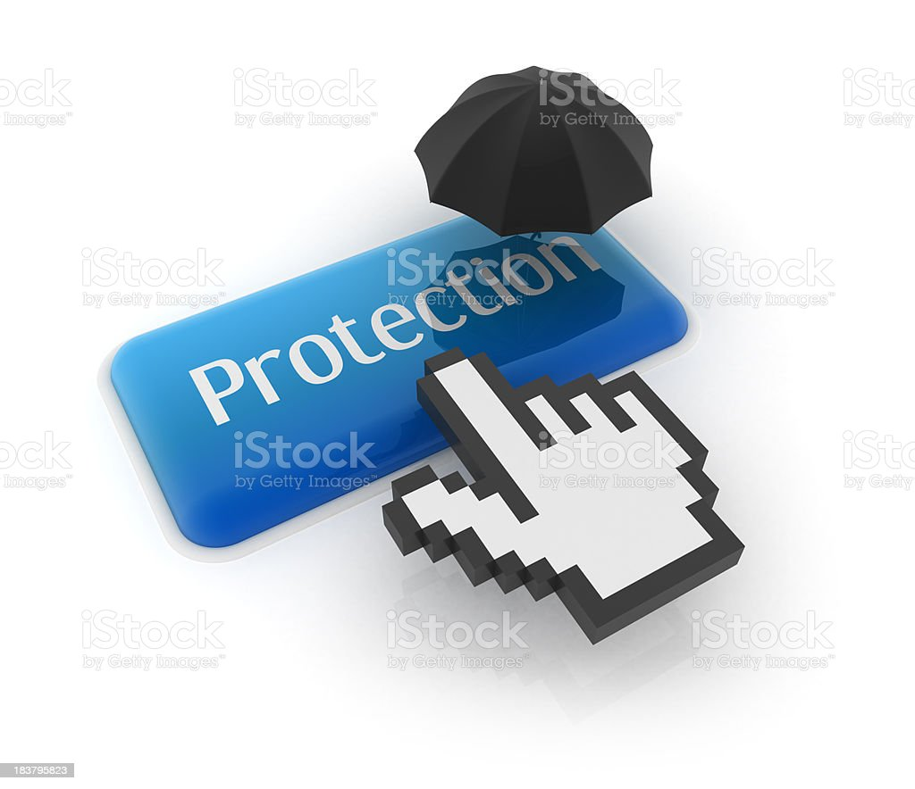 Hand cursor on protection button with umbrella royalty-free stock photo
