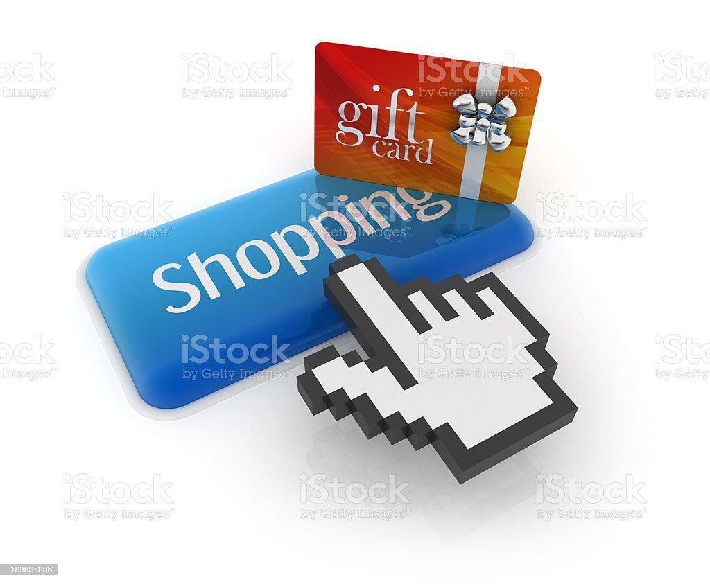Hand cursor on shopping button stock photo