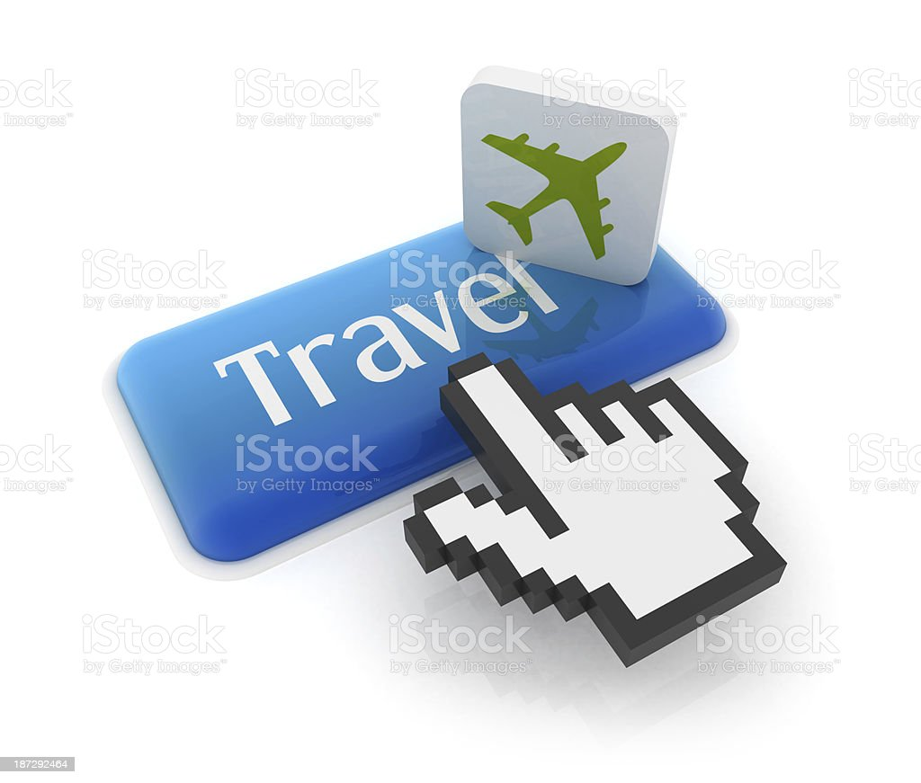 Hand cursor on travel button stock photo