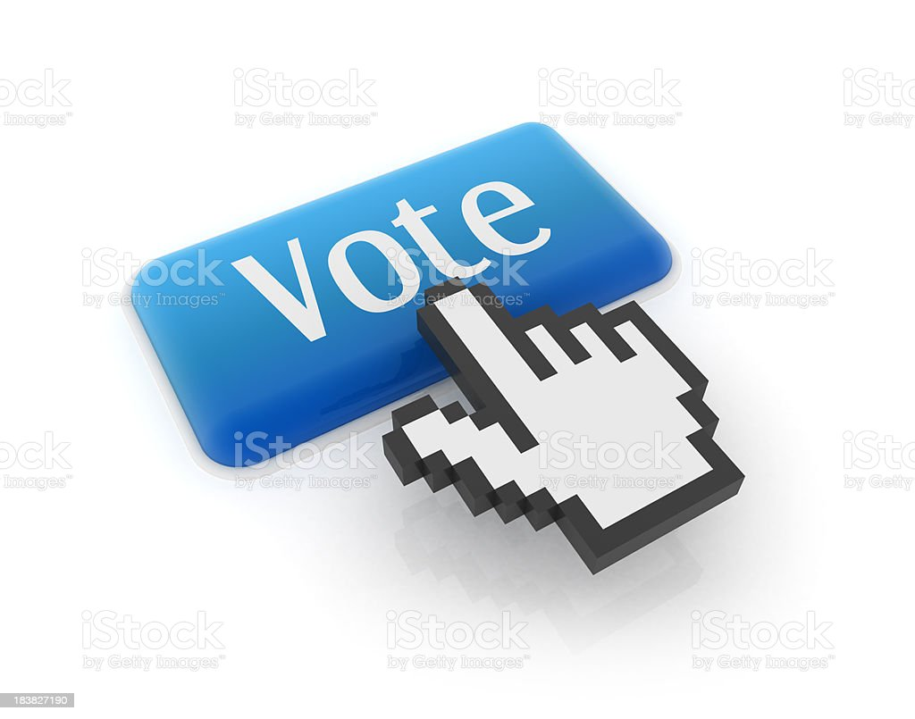 Hand cursor on vote button royalty-free stock photo
