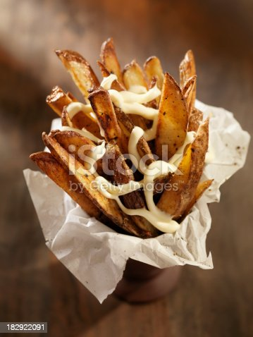 Hand Cut Oven Roasted French Fries with Garlic Mayonnaise - Photographed on Hasselblad H3D2-39mb Camera