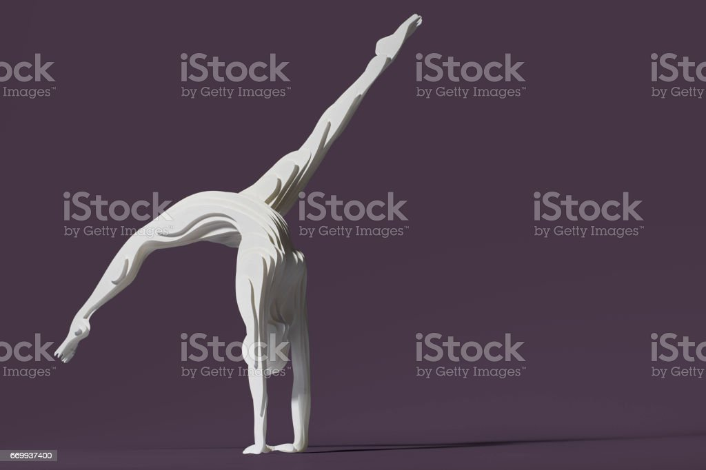 Hand cut paper figure of a gymnast stock photo