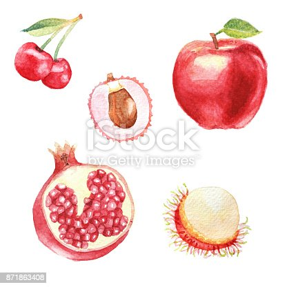 istock Hand dawn set with watercolor fruits, fresh food, cherry, rambutan, lychee, ruby red fruit, apple 871863408