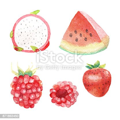 istock Hand dawn set with watercolor fruits, fresh food, raspberry, strawberry, dragon fruit, watermelon 871863450