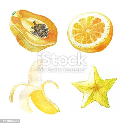 istock Hand dawn set with watercolor fruits, fresh food, star apple, papaya, orange, banana 871863364