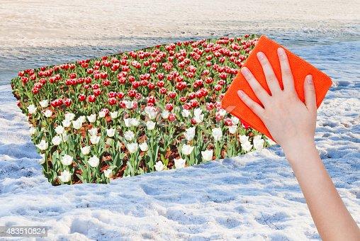 639394370istockphoto hand deletes snow surface by orange cloth 483510824