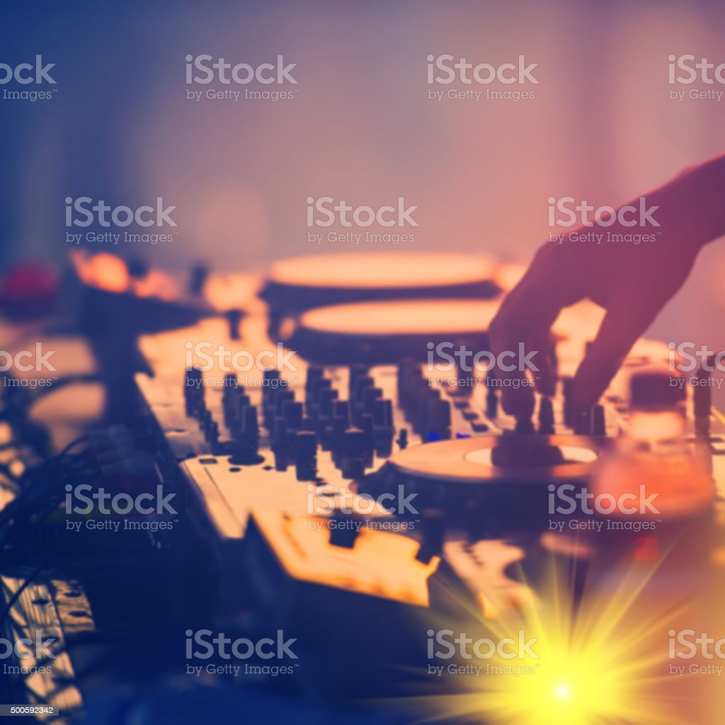 Hand DJ on the remote stock photo