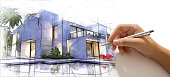 Hand drafting a design villa with pool