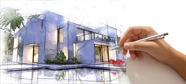 hand, die ausarbeitung eines luxuriösen haus mit pool - architekturberuf stock-fotos und bilder
