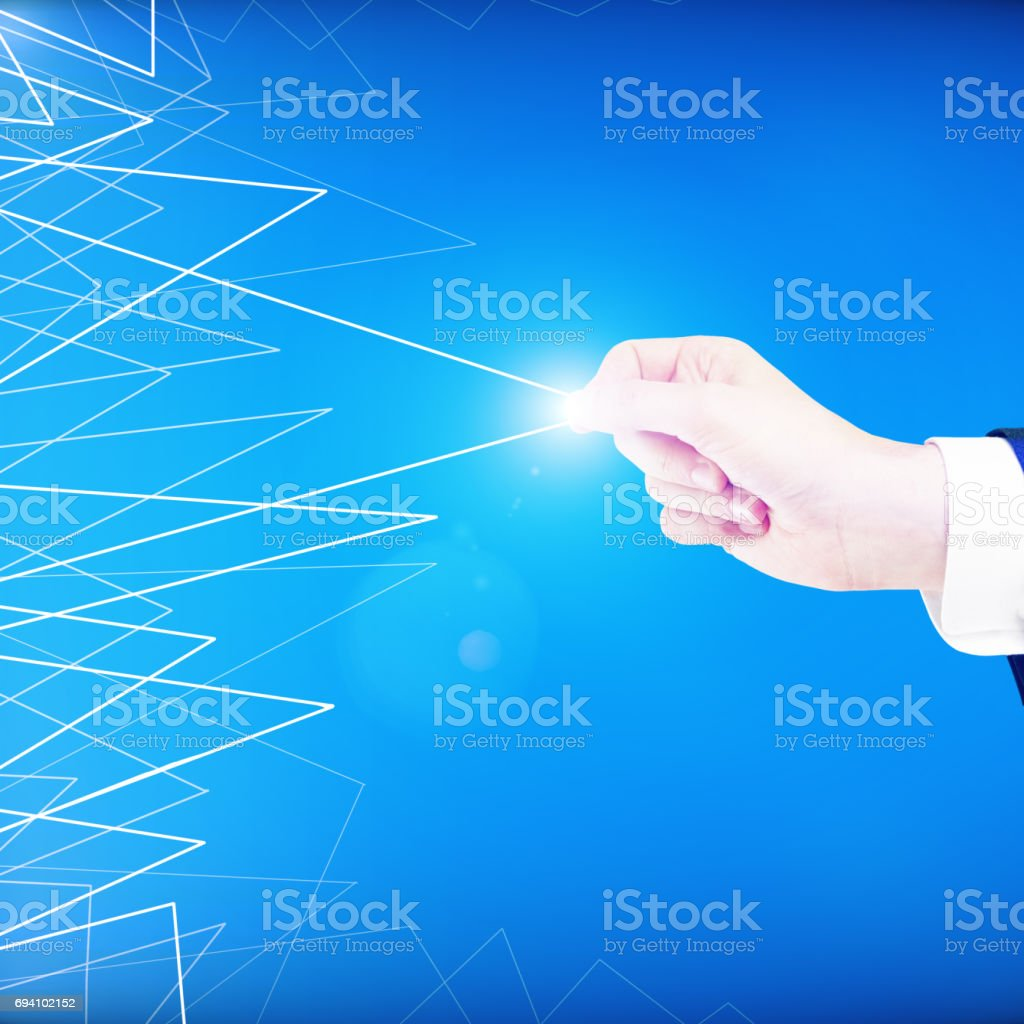 Hand dragging triangular pattern stock photo