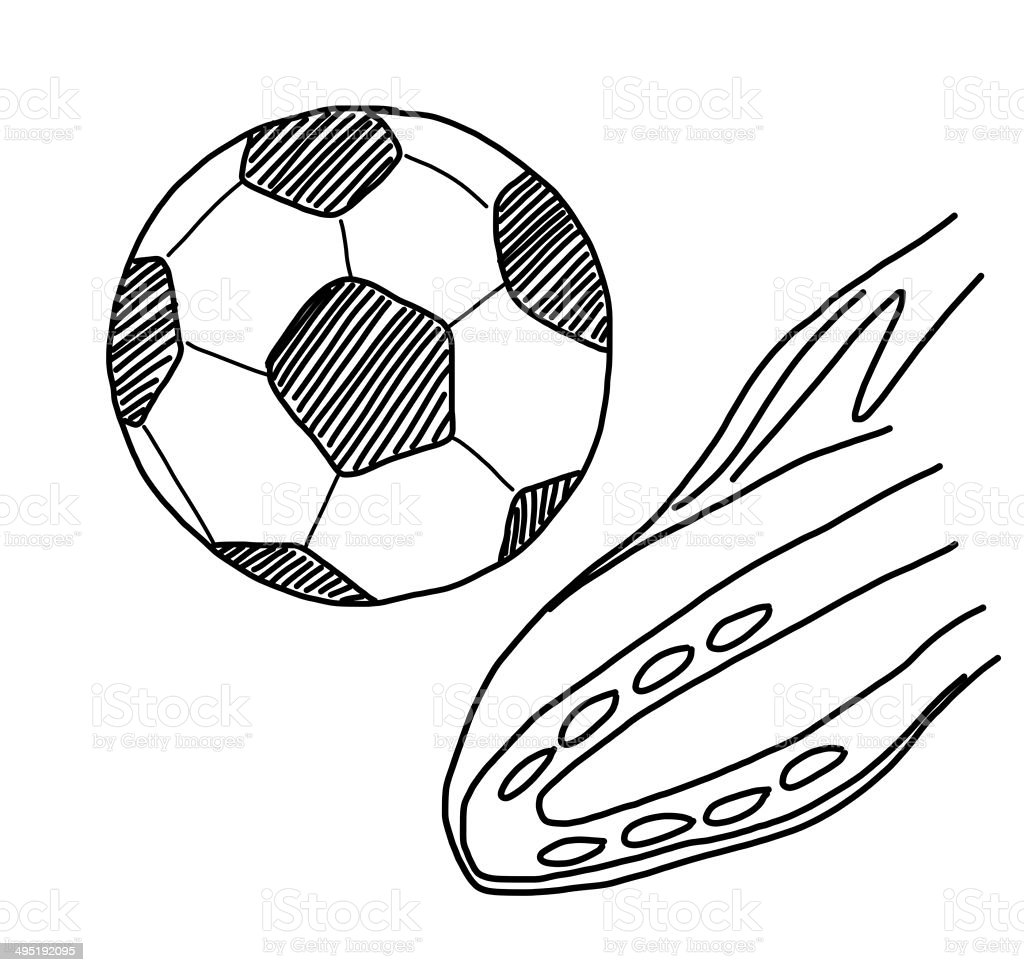 Hand Draw Kicking Soccer Ball On White Stock Photo