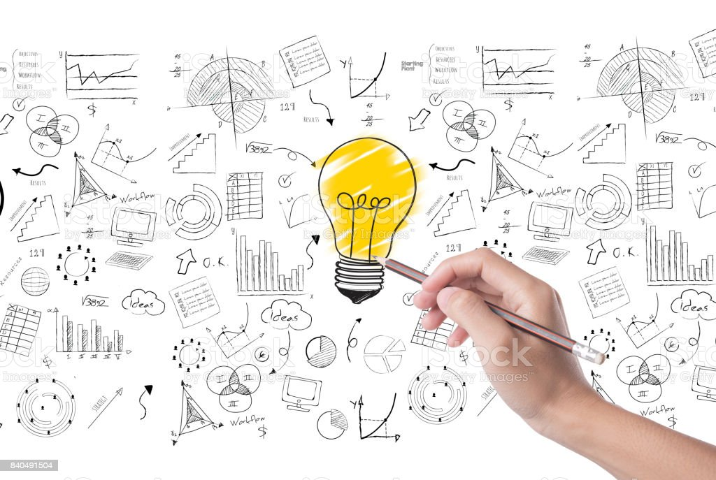 hand draw lightbulb on wall background. concept for new ideas with innovation and creativity. stock photo