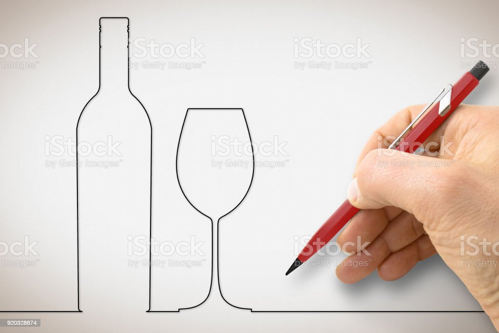 Hand drawing a bottle of wine with a wineglass - concept image with a single line design stock photo