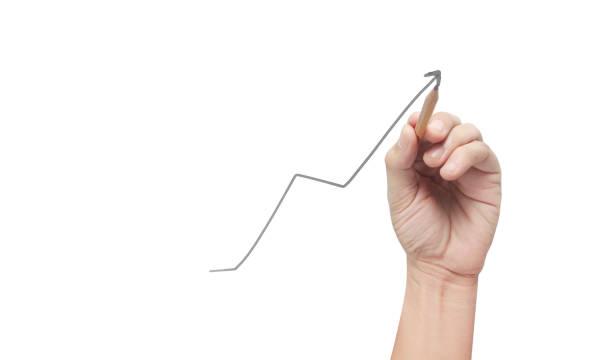 Handzeichnung eines Diagramms, Diagramm des Wachstums – Foto