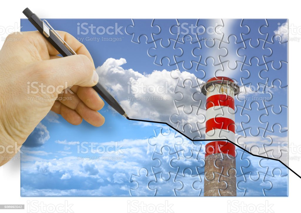 Hand drawing a graph about Co2 emissions in atmosphere - concept image stock photo