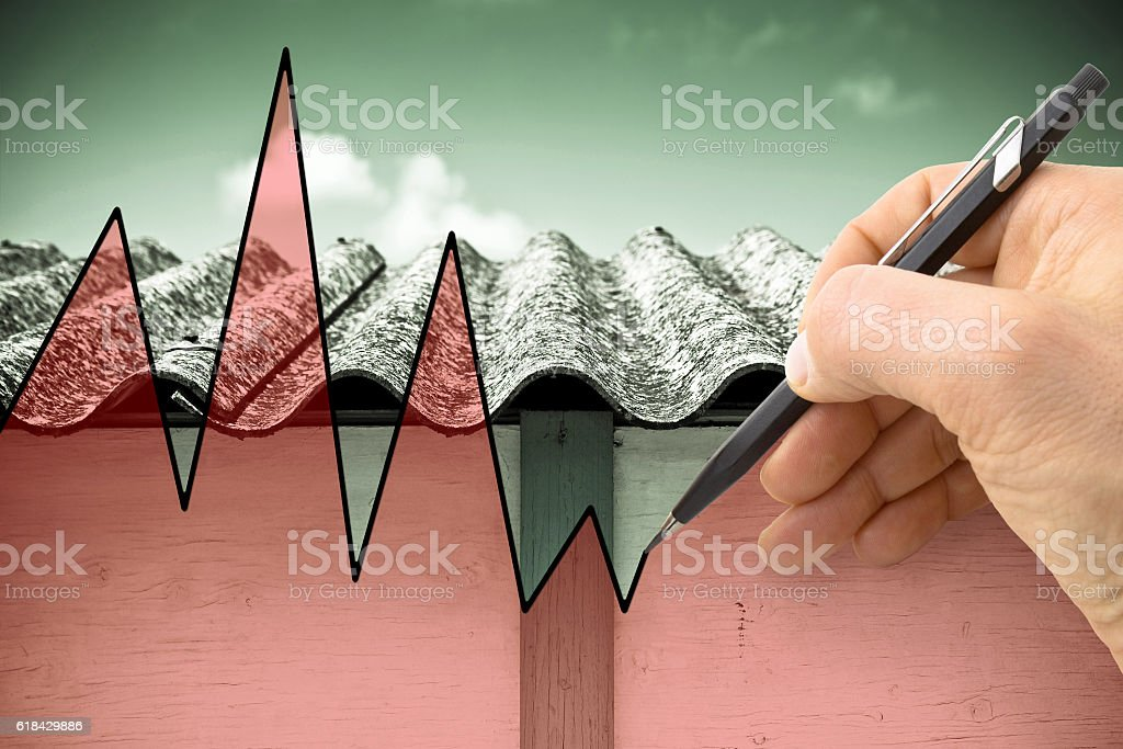 Hand drawing a graph about issues relating asbestos stock photo