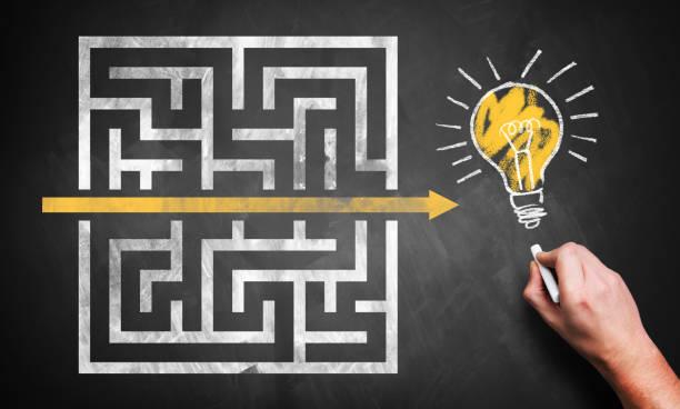 Hand zeichnet einen Tastenkürzel durch ein Labyrinth zu einer Idee – Foto